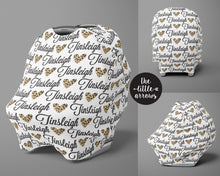 Load image into Gallery viewer, Car Seat Cover / Multi Use Cover - Leopard Heart - The Little Arrows