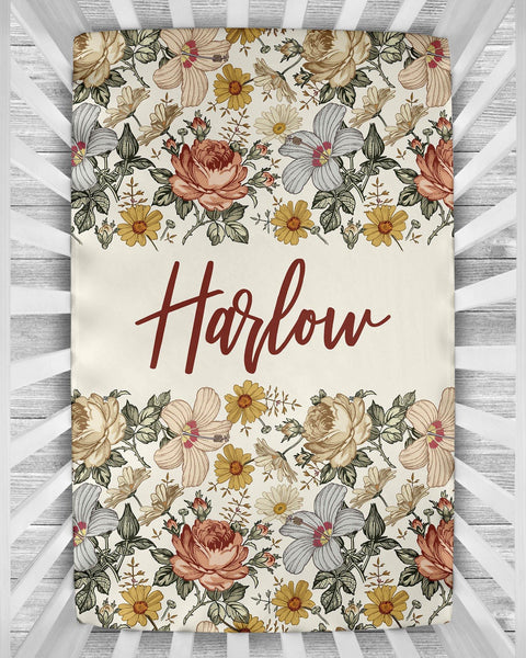 Personalized Crib Sheet - the Harlow collection - natural