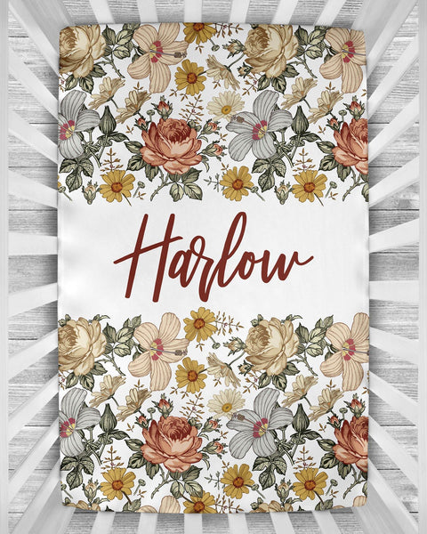 Personalized Crib Sheet - the Harlow collection - white