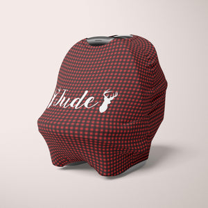 Car Seat Cover / Multi Use Cover - Buffalo Check Deer