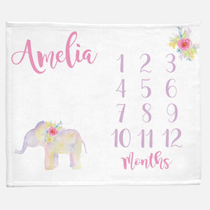 Milestone / Monthly Blanket - Watercolor Elephant