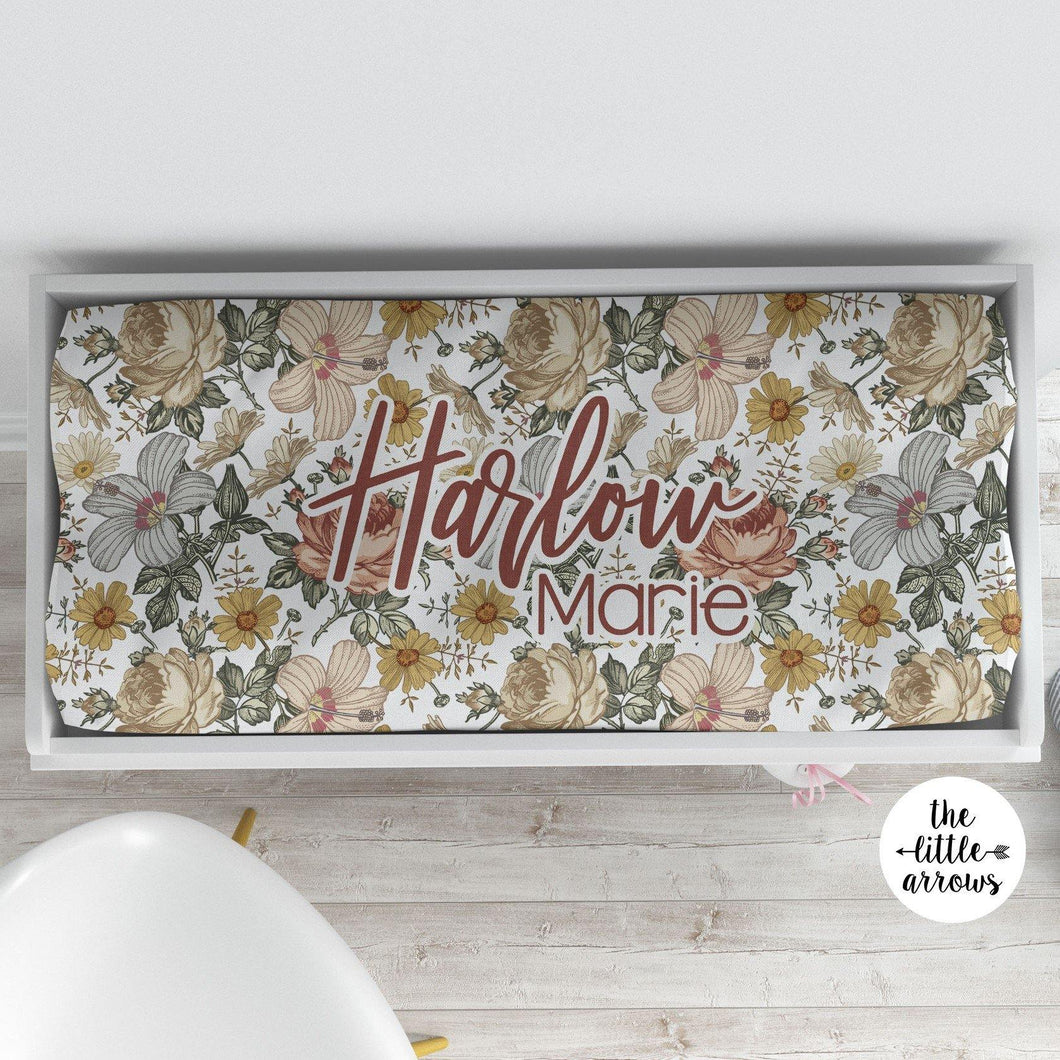 Personalized Changing Pad Cover - Vintage Floral - the Harlow collection - The Little Arrows