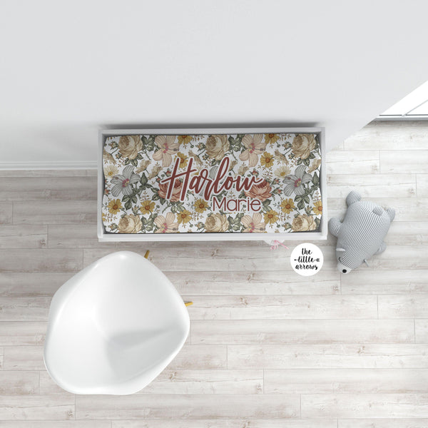 Personalized Changing Pad Cover - Vintage Floral - the Harlow collection