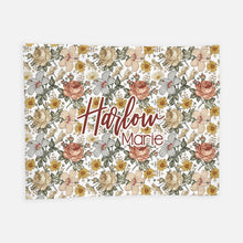 Load image into Gallery viewer, Personalized Plush Blanket - Vintage Floral - the Harlow collection