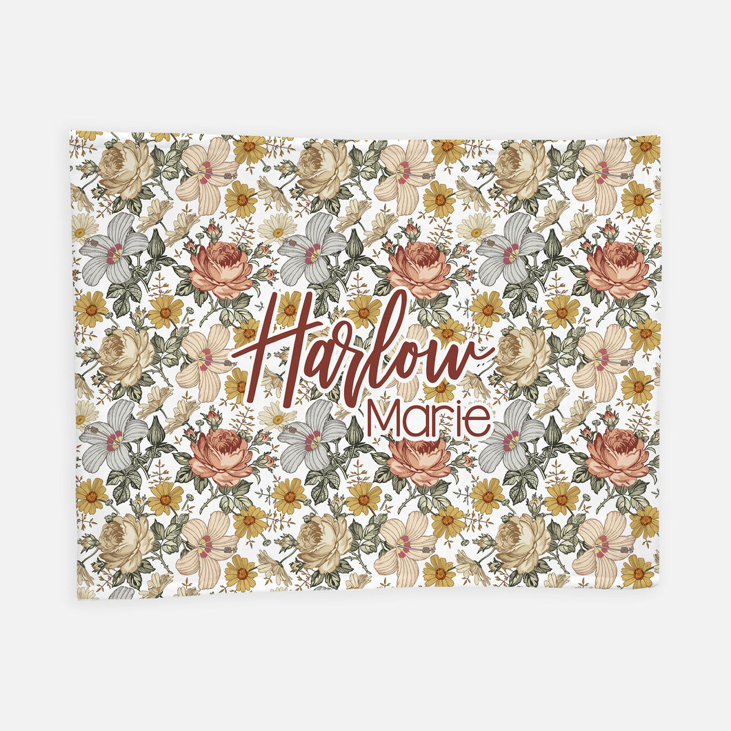 Personalized Plush Blanket - Vintage Floral - the Harlow collection