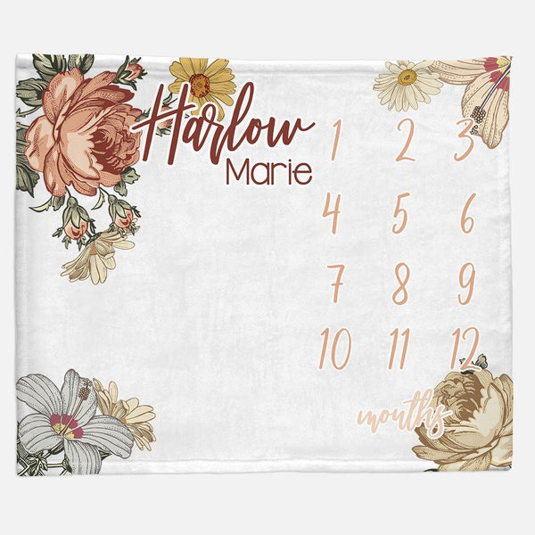 Milestone / Monthly Blanket - Vintage Floral - the Harlow collection