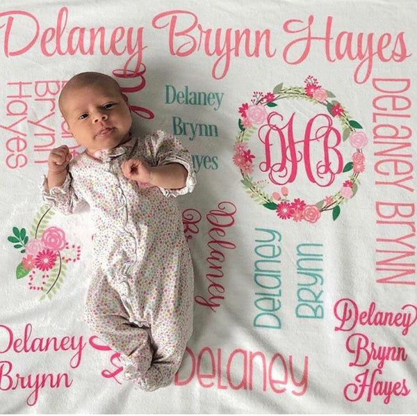 Personalized Plush Blanket - All over Floral