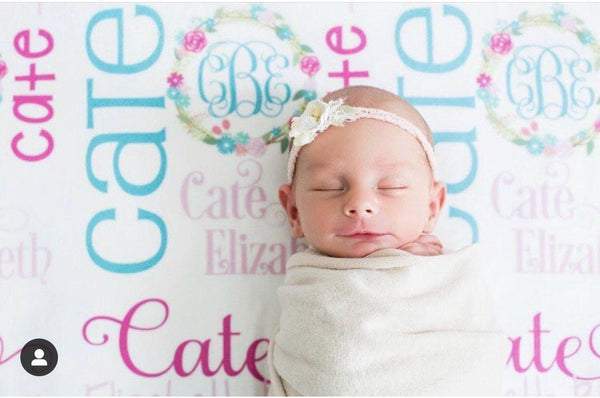 Personalized Fleece Baby Blanket - Floral Wreath