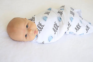Personalized Jersey Knit Swaddle - Rainbows