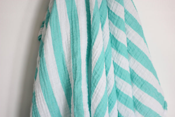 Aqua Striped Muslin Blanket
