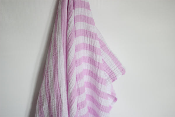 Pink Striped Muslin Blanket
