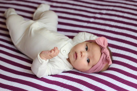 Purple Rose Striped Muslin Blanket