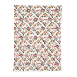 Personalized Jersey Knit Swaddle - Vintage Floral - the Harlow collection - pink colorway