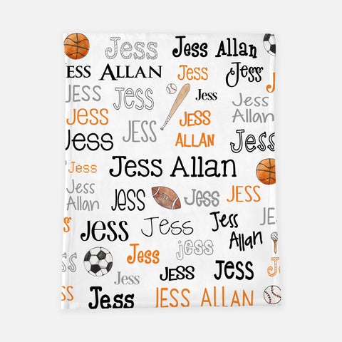Personalized Plush Blanket - Sports