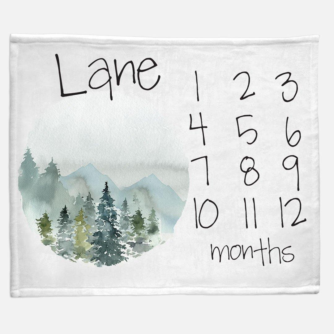 Milestone / Monthly Blanket - Mountains and Trees