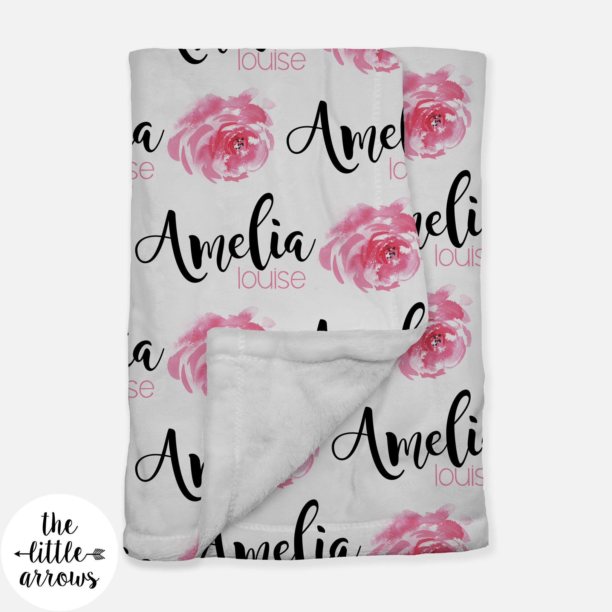 Personalized Minky Fleece Blanket - Watercolor Rose single