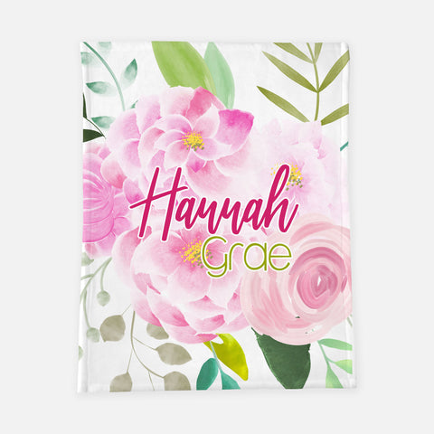 Personalized Plush Blanket - Peonies and Roses - the Hannah Grae collection