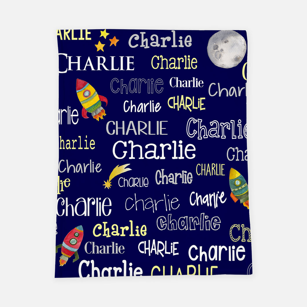 Personalized Plush Blanket - Space