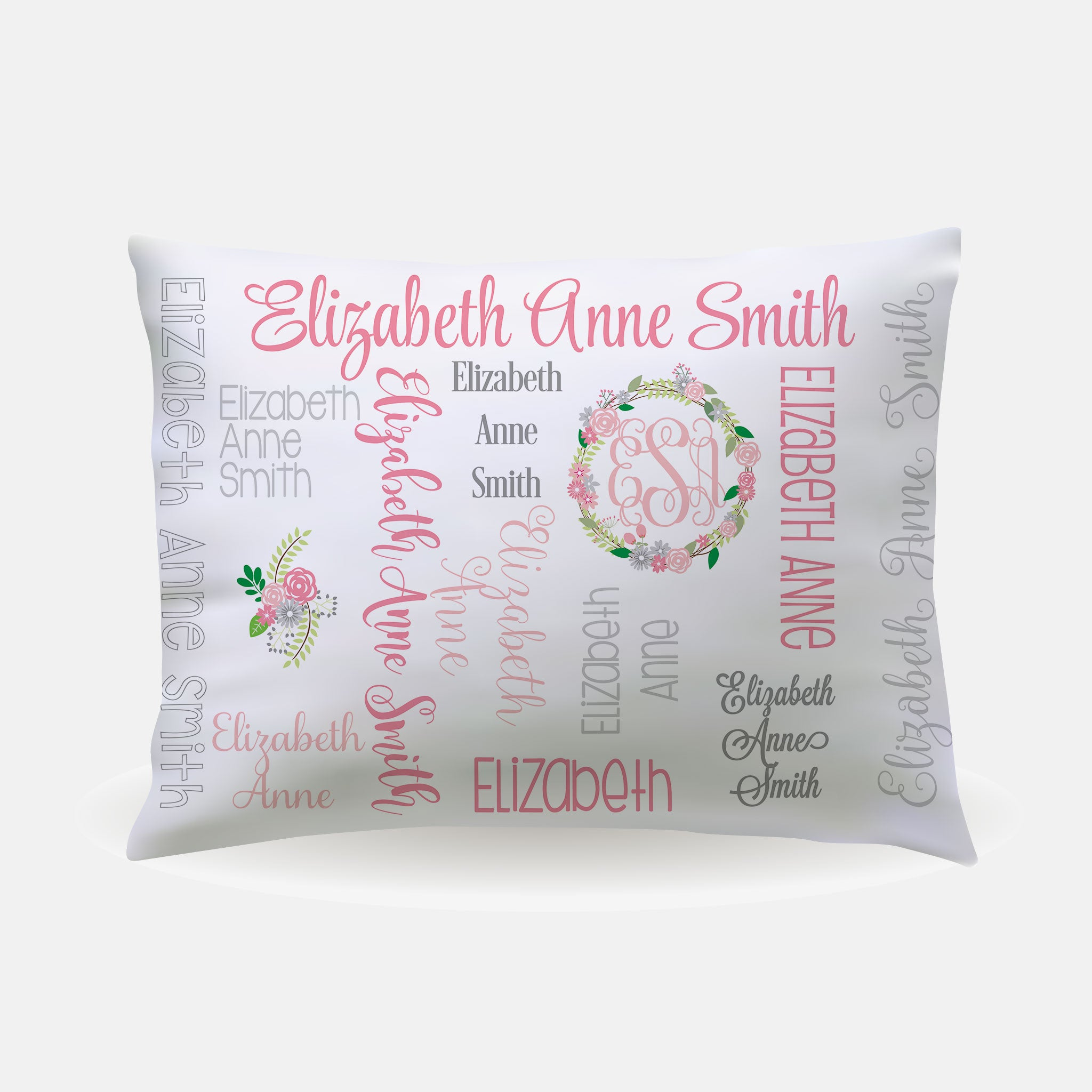 Pillow Case - standard size - All Over Floral pastels