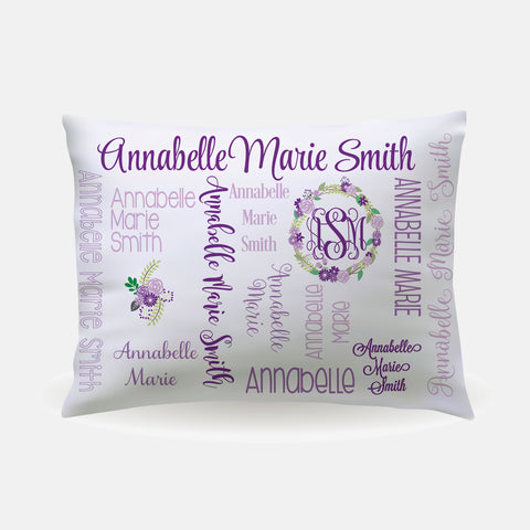 Pillow Case - standard size - All Over Floral purples