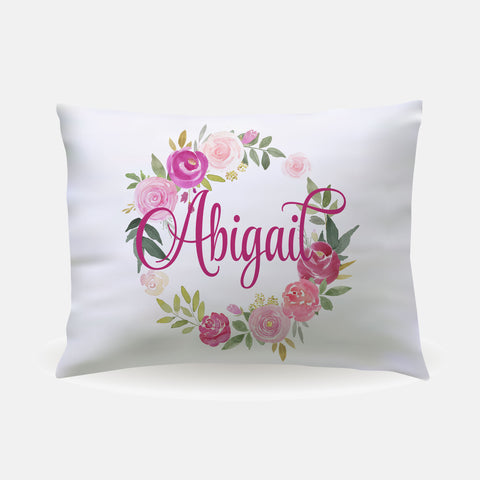 Pillow Case - standard size - Pink Floral Wreath