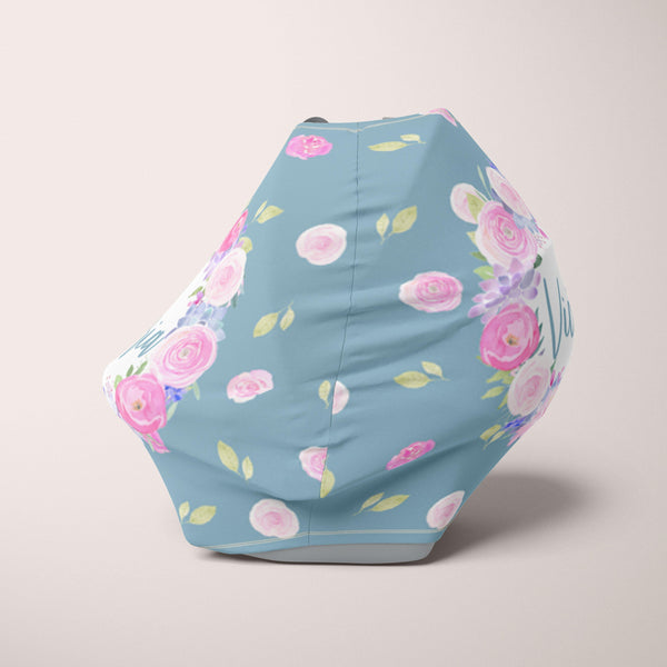 Car Seat Cover / Multi Use Cover - Floral Blue