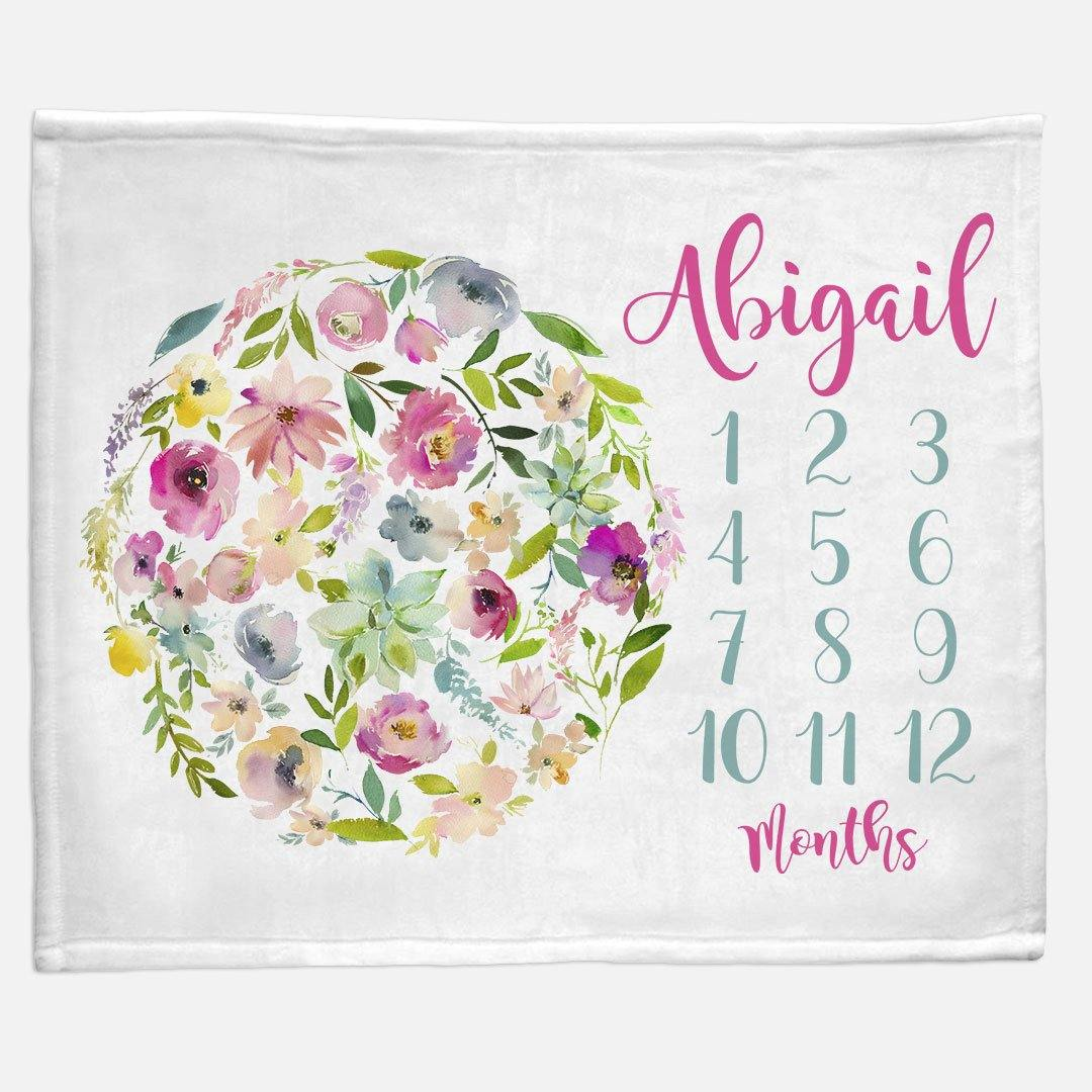 Milestone / Monthly Blanket - Floral Circle