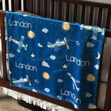 Personalized Minky Fleece Blanket - Airplanes