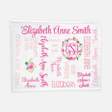 Load image into Gallery viewer, Personalized Plush Blanket - All over Floral dark pink colorway