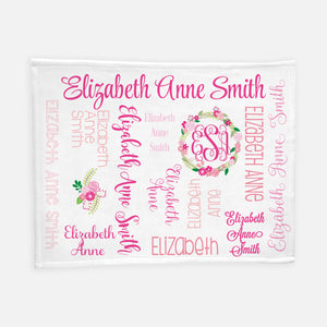 Personalized Plush Blanket - All over Floral dark pink colorway