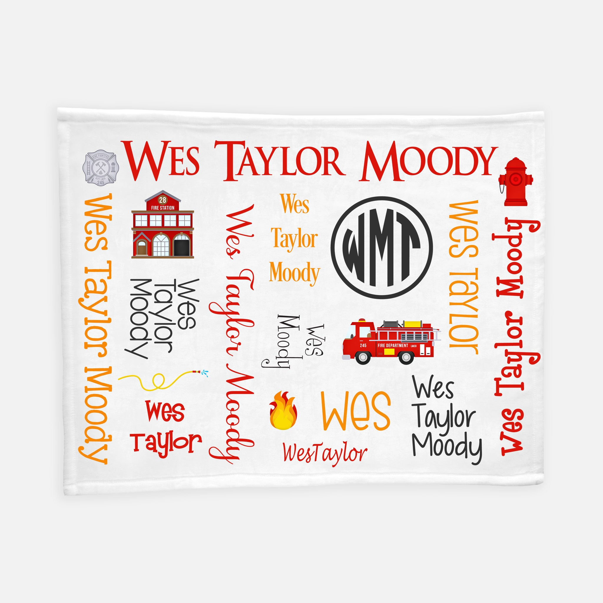 Personalized Plush Blanket - All Over Fire