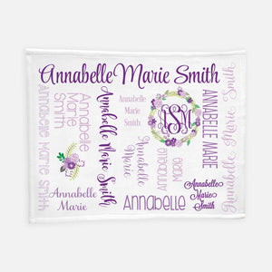 Personalized Plush Blanket - All over Floral purple colorway