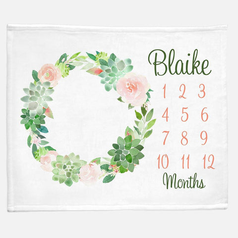 Milestone / Monthly Blanket - Succulent Wreath