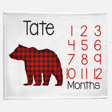 Load image into Gallery viewer, Milestone / Monthly Blanket - Bear Buffalo Check - The Little Arrows