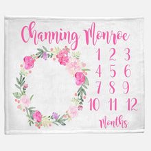Load image into Gallery viewer, Milestone / Monthly Blanket - Peony Wreath - The Little Arrows