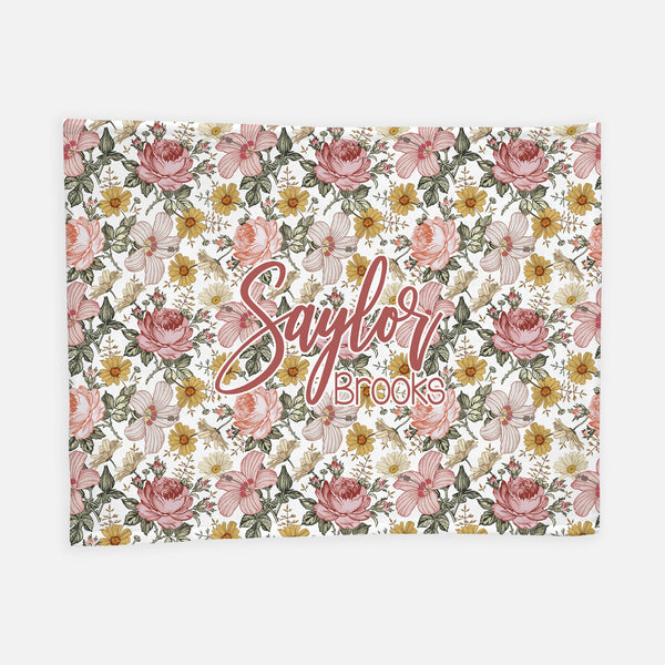 Personalized Plush Blanket - Vintage Floral - the Harlow collection - pink colorway