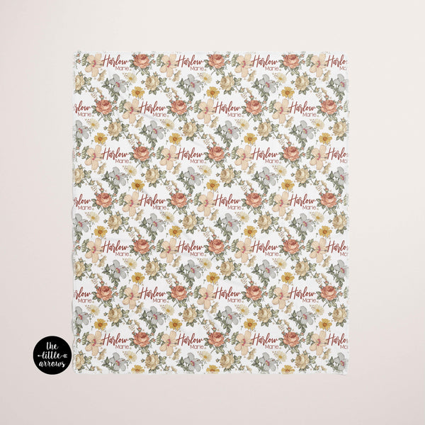 Personalized Jersey Knit Baby Blanket - Vintage Floral - the Harlow collection