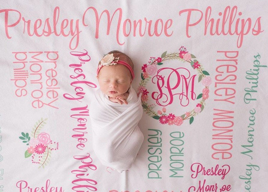 Personalized Minky Fleece Blanket - All over Floral