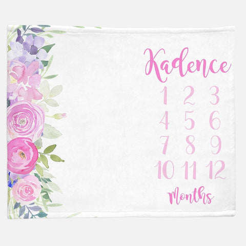 Milestone / Monthly Blanket - Side Floral