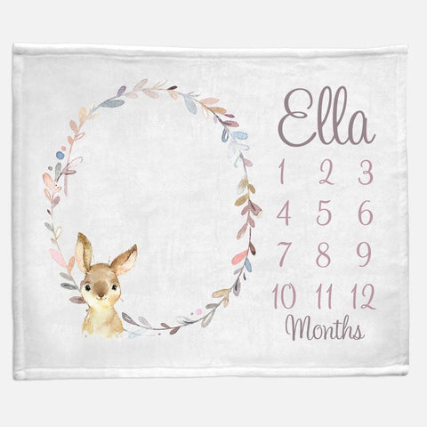 Milestone / Monthly Blanket - Bunny Wreath