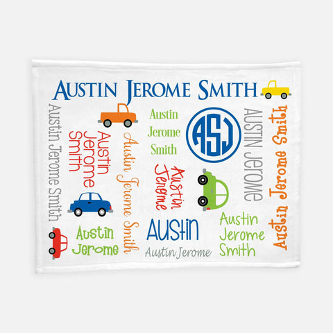 Personalized Plush Blanket - All Over Cars and Trucks