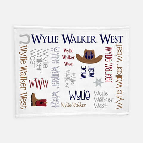 Personalized Plush Blanket - All Over Cowboy