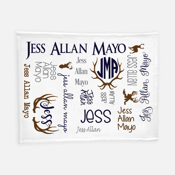 Personalized Plush Blanket - All over Deer and Antlers