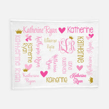 Load image into Gallery viewer, Personalized Plush Blanket - All Over Hearts and Crown