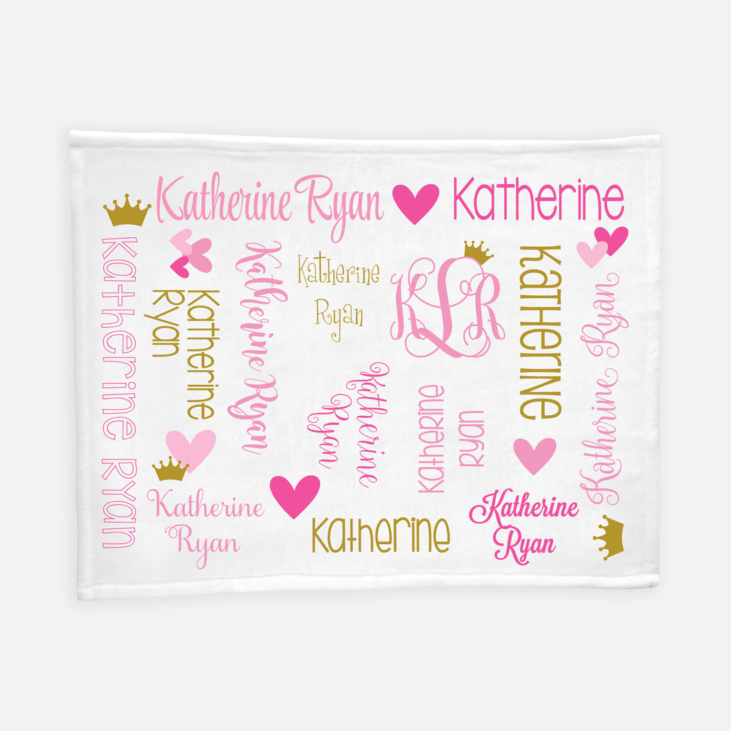Personalized Plush Blanket - All Over Hearts and Crown