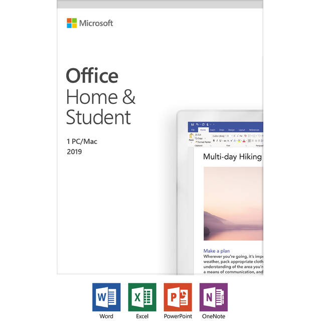 Microsoft Office Hogar y Estudiantes dispositivo 2019/1, Windows 10 PC / Mac Key Card