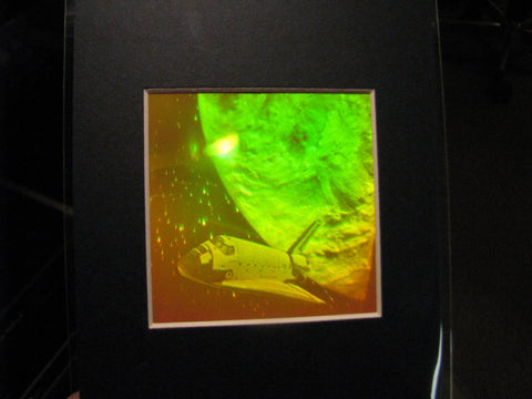 3D Space Shuttle Matted Hologram Picture, Collectible Polaroid Photopolymer Film