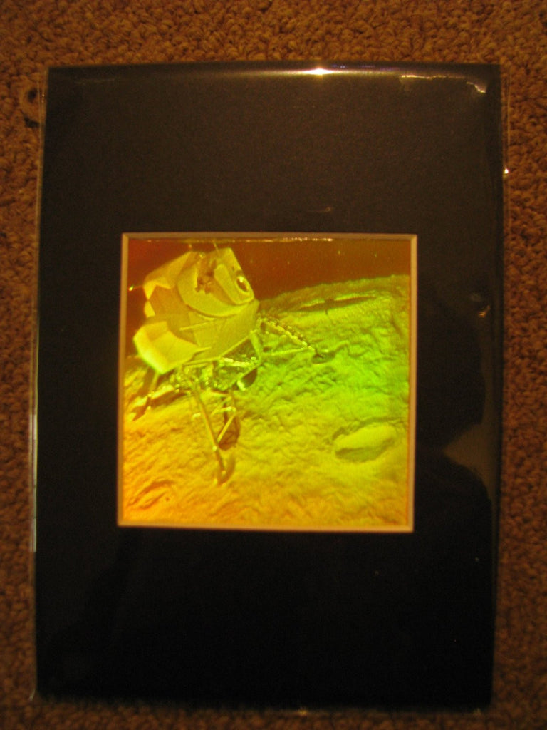 3D Lunar Lander Matted Hologram Picture, Collectible Polaroid Photopolymer Film