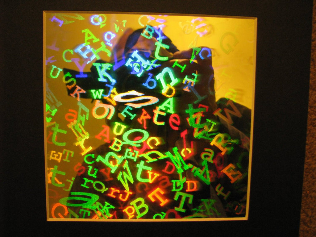LETTERS in space Hologram Picture, 3D Embossed Type