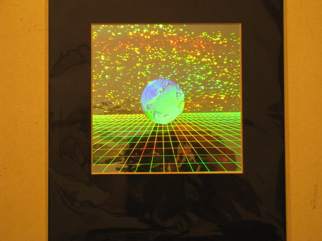 Earth with Grid Matted Hologram Picture, 3D Embossed Type
